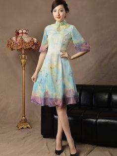 Chiffon Qipao / Cheongsam Dress with Pleated Skirt