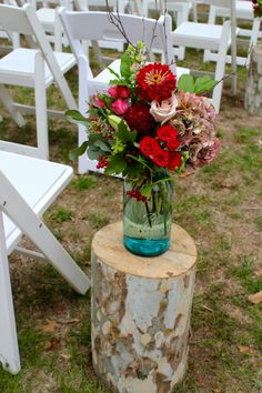 Mason Jar Aisle Marker for Rustic Wedding