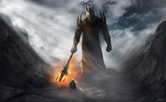 """Morgoth and Fingolfin by JMKilpatrick """"Last of all is set the name of Melkor, He who arises in Might. But that name he has forfeited; and the Noldor, who among the Elves suffered most from his malice, will not utter it, and they name him Morgoth, the Dark Enemy of the World."""" — The Silmarillion, J.R.R. Tolkien"""