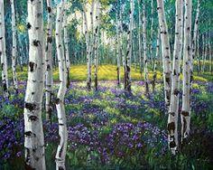 Aspen Paintings by Contemporary Aspen Artist Jennifer Vranes, Birch Trees, Lavender Fields, Poppies, JensArt