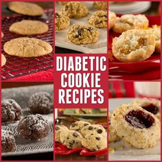 If you think that just because you're on a diabetic diet, you can't indulge now and again, we're about to prove you wrong! Our collection of Diabetic Cookie Recipes: Top 10 Best Cookie Recipes You'll Love has those guilty pleasure cookie jar favorites you Sugar Free Deserts, Sugar Free Cookies, Sugar Free Recipes, Low Carb Recipes, Diet Recipes, Diabetic Cookie Recipes, Diabetic Deserts, Diabetic Friendly Desserts, Diabetic Foods