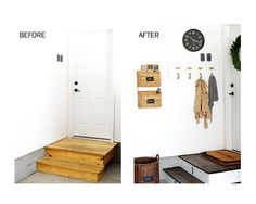 Project Fall Coat Rack: Before & After |Perfect for an #Apartment #Enrty  because the hangers are removable