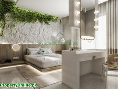Colorful Bedroom Designs & Ideas Olive Green Bedrooms, Sage Green Bedroom, Arty Bedroom, Modern Bedroom, Feature Wall Bedroom, Bedroom Wall Colors, Stone Feature Wall, Interior Design And Construction, Narrow Living Room