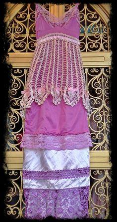 bohemian apron dress | ... and crochet apron slip dress by mermaid miss k. $140.00, via Etsy