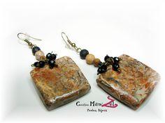 ✿ Boucles d'oreilles fantaisie NATURE ✿ Bronze, pierre et noire, pendentifs Carrés- Boucles d'oreilles longues - Bijoux chic de créateur