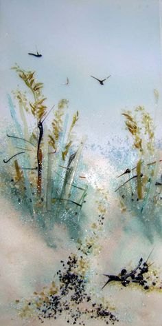 """""""Path to the Beach"""" Themed Fused Glass Art Panel 