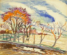 Charles Burchfield (American, 1893-1967), Untitled (Landscape with Trees and Houses), 1917.
