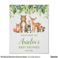 Woodland Animals Greenery Baby Shower Welcome Sign Woodland Baby, Woodland Animals, Woodland Creatures, Create Your Own Poster, Baby Shower Welcome Sign, Virtual Baby Shower, Cute Funny Animals, Baby Shower Parties, Shower Party
