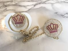 Chic Swarovski Crystal Bling Pacifier in Silver, Gold & Rose Gold – Sugar Plum Avenue LLC Baby Sucker, Silver Roses, Rose Gold, Bling Pacifier, Baby Shower Deco, Baby Binky, Reveal Parties, Baby Essentials, Cribs