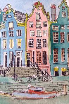 Si Amsterdam avait des couleurs ;-) | Guide d'Amsterdam : http://www.vanupied.com/amsterdam/ #amsterdam #sketches
