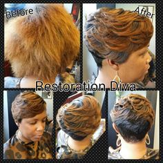 Before & After shortcuts, Short Styles,  Blonde Hair, www.restorationdiva.com