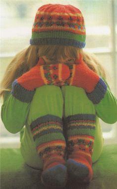 PDF Childrens Fair Isle Hat Mittens & Socks Knitting Pattern : Boy or Girl age 3 - 5 years . DK Pattern . Instant Digital Download by PDFKnittingCrochet on Etsy