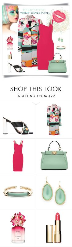 """""""Etro Hibiscus Print Coat Look"""" by romaboots-1 ❤ liked on Polyvore featuring Fendi, Etro, Roland Mouret, Alexis Bittar, Marc Jacobs and Clarins"""
