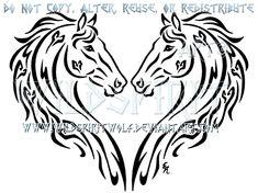 Dual Thoroughbreds Heart Design by WildSpiritWolf on deviantART