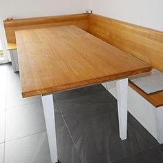 Lieblich Eckbank Und Tisch Mit Schubladen, Eiche Massiv, Korpus Weiß Lasiert,  Sitzfläche Und Lehne