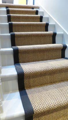 Basement Stairs, House Stairs, Stairway Carpet, Best Carpet For Stairs, Striped Carpet Stairs, Carpet Diy, Carpet Ideas, Carpet Decor, Victorian Hallway