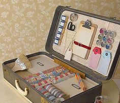 Pack a vintage suitcase with stationary supplies. This would make a cool gift.