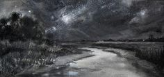 Night Sky - CWA Juried Members Show Second Prize - charcoal, in Award Winning Paintings Night Sky Stars, Night Skies, Acrylic Sky Painting, Night Sky Drawing, Memorial Museum, White Acrylics, Nocturne, Cool Art, Awesome Art