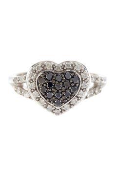 Black & White Diamond Heart Ring