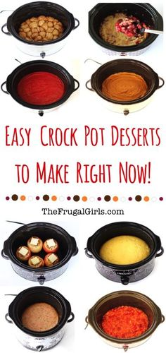 19 Easy Crockpot Desserts to make Right Now! ~ from TheFrugalGirls.com ~ these ridiculously delicious dessert recipes couldn't be easier!  Your friends and family will thank you, and it's our secret how easy dessert was to make!