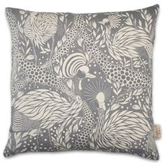 House of Rym Prancing Peacock Grey cushion covers designed by Emma von Bromssen are 100% cotton weave and are each printed b…