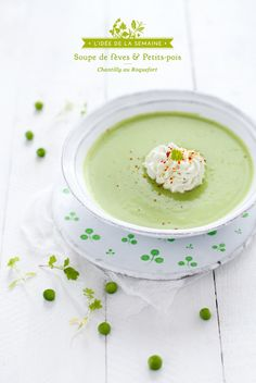 Soupe Froide Fèves, Petits Pois & Roquefort (Cold Soup with Beans, Peas & Whipped Blue Cheese)