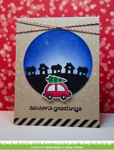 Lawn Fawn - Home for the Holidays, Little Town Border _ card by Lizzy for Lawn Fawn