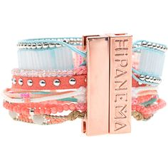 HIPANEMA Reef Pink // Handmade bracelet ($88) ❤ liked on Polyvore featuring jewelry, bracelets, beading charms, beaded bangles, engraved charms, beaded jewelry and rose charm