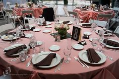 pink table cloth - brown napkin - white plate - I would add pattern fabric runner Chocolate Party, Pink Chocolate, Pink Wedding Theme, Wedding Colors, Breast Cancer Party, Simple Wedding Decorations, Wedding Ideas, Table Decorations, Small Centerpieces