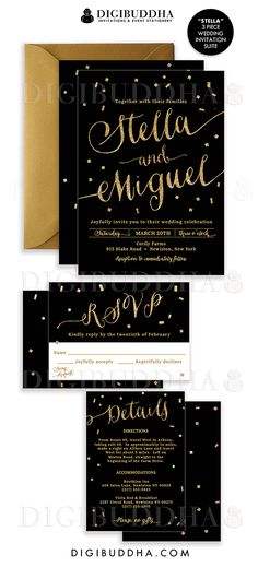 Elegant modern black & gold confetti wedding invitations in a 3 piece suite including RSVP reply card and Details / Info enclosure card. Coordinating backers, gold glitter confetti sparkle details. Color envelopes, envelope liners and belly bands also available. digibuddha.com