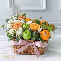Fruit Flower Basket, Fruit Box, Fruit Flowers, Edible Fruit Arrangements, Edible Bouquets, Fruit Presentation, Fruit Hampers, Vegetable Bouquet, Food Bouquet
