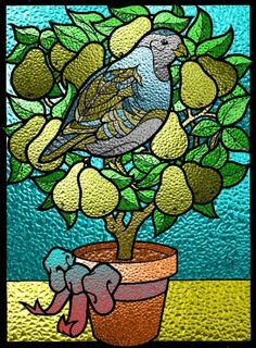 12 Days of Christmas, Day 1 - A Partridge in a Pear Tree symbolizes Jesus Christ (Luke 13:34)   Beautiful Stained Glass