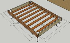 Full bed frame plans Do you have a rickety metal bed frame Or maybe you keep your mattress on the floor with no frame at all This video will Simple Bed Frame, Full Bed Frame, Diy Queen Bed Frame, Queen Mattress Frame, Diy Bed Frame Plans, Diy Twin Bed Frame, Lit Plate-forme Diy, Woodworking Projects, Wood Projects