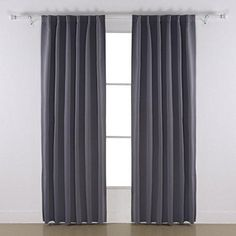 Deconovo Rod Pocket Curtains Room Darkening Shades Blackout Thermal Insulated Window Curtains for Boys Room 52 x 63 Inch Dark Grey 1 Pair