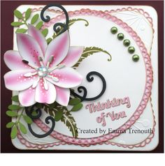 Paper lily using tonic lily die set, spellbinders circles and lables 1 dies. Thinking of you card