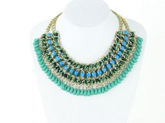 Blue beads statement necklace bohemian chunky necklace by eBijoux, $18.99