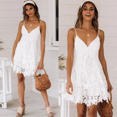 Women Lace Dress Sexy Sleeveless V Neck Spaghetti Strap Crochet Lace M – Ozzy Bella All Great Apparel