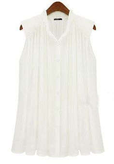 ++ White Plain Pleated Band Collar Sleeveless Chiffon Blouse