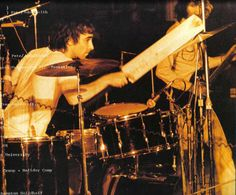 Keith Moon's Premier kit (with Gretsch snare) being played with a cricket bat!