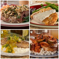 1) Almost Stuffed Pork Chops - 2) Backwoods Pork Chops with River Gravy - 3) All-In-One Pork Chop Dinner 4) Country Pork Chops