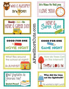 FREE Printable Lunchbox Notes for when I'm pressed for time!