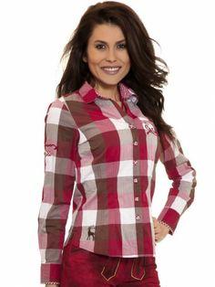 Trachtenbluse Simmy (rot) Crash Look - Spieth & Wensky Spieth Und Wensky, Plaid, Shirts, Dirndl, Red, Leather, Women's, Gingham, Shirt