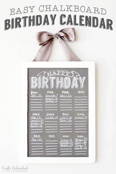 Easy Chalkboard Birthday Calendar {With Free Printable!}