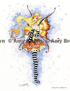 Halloween Candy Corn Fairy print by Amy Brown