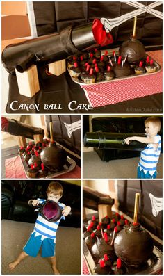 Pirate Birthday Party On a Budget {Jake & the Never Land Pirates} Bomb cupcakes and cake, fun game ideas.