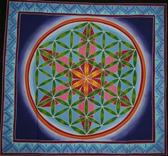 Hand Painted Batik Flower of Life wall hanging Sacred by Mownart