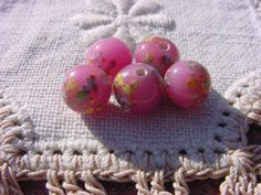 Orchid Pink Millefiori Vintage Glass Beads by vintagebeadnut, $4.50