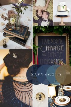 Hitch Design Studio has access to these vintage navy blue books (upper left) and can make a sign just like on on the middle right. We LOVE this Vintage Wedding Colour Combination: Navy Blue & Gold