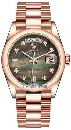 39ac0582eb1 Rolex Day-Date 36mm Everose Gold Domed Bezel 118205 Black MOP Diamond  President