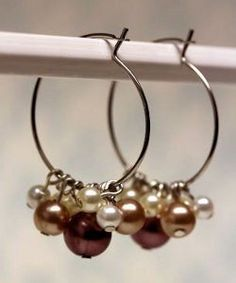 Champagne Pearl Cluster Hoops | AllFreeJewelryMaking.com